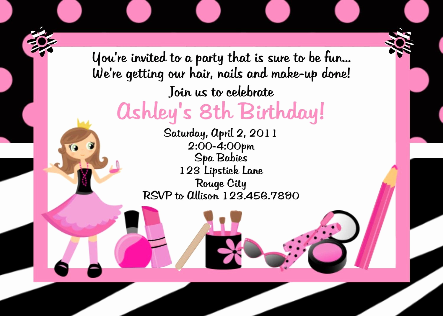 6th Birthday Invitation Wording Beautiful Lexi S 6th Bday Party Diva Spa Birthday Invitation Diva