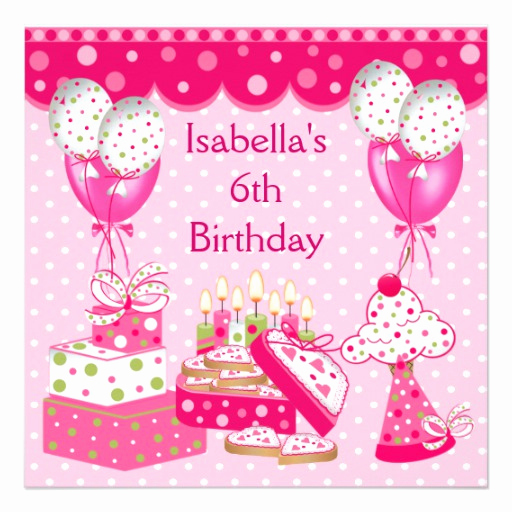 6th Birthday Invitation Wording Best Of Girls 6th Birthday Party Pink Spot Cake 5 25x5 25 Square