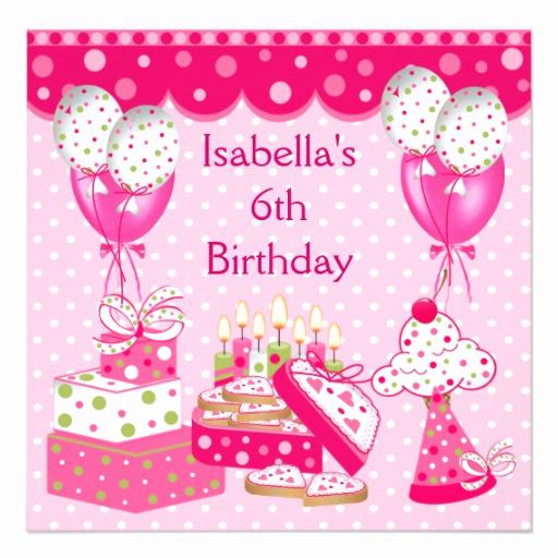 6th Birthday Invitation Wording Best Of Girls 6th Birthday Party Pink Spot Cake 5 25x5 25 Square