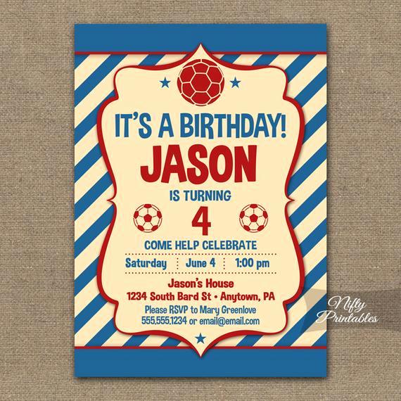 6th Birthday Invitation Wording Best Of Items Similar to soccer Birthday Invitation Red Blue
