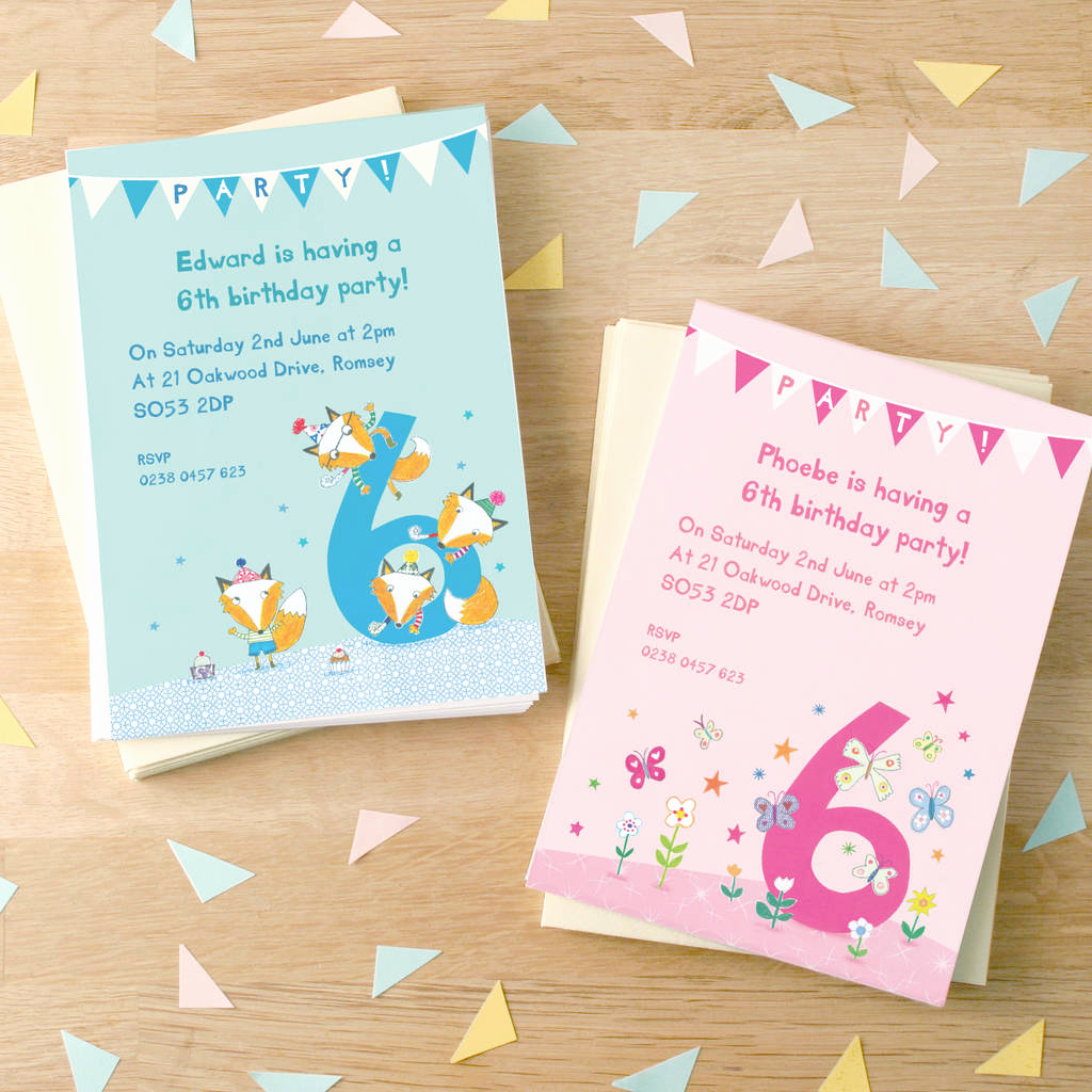 personalised sixth birthday party invitations