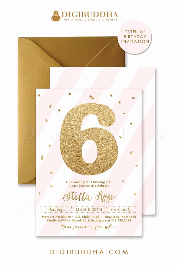 6th Birthday Invitation Wording Best Of Pink Gold Glitter 6th Birthday Invitations In A soft