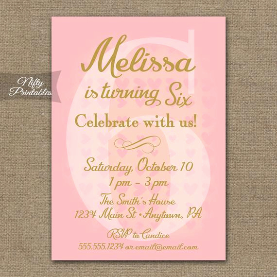 6th Birthday Invitation Wording Elegant 6th Birthday Invitations Pink & Gold Printable Sixth Birthday