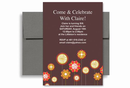 6th Birthday Invitation Wording Elegant Flowers Background Girl Sixth Birthday Invitation Wording