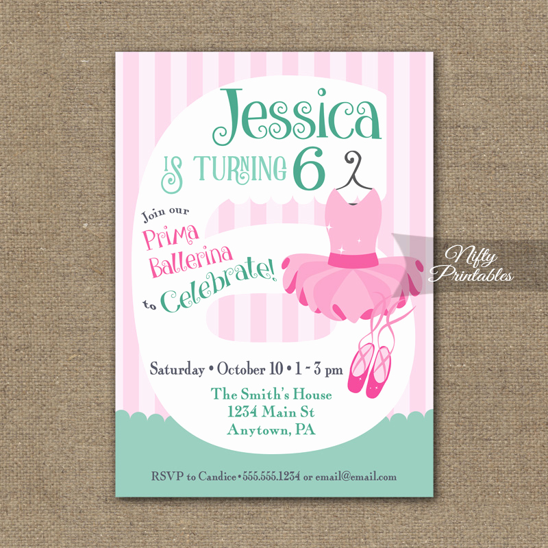 6th Birthday Invitation Wording Fresh 6th Birthday Invitation Ballet Tutu Invitation Nifty