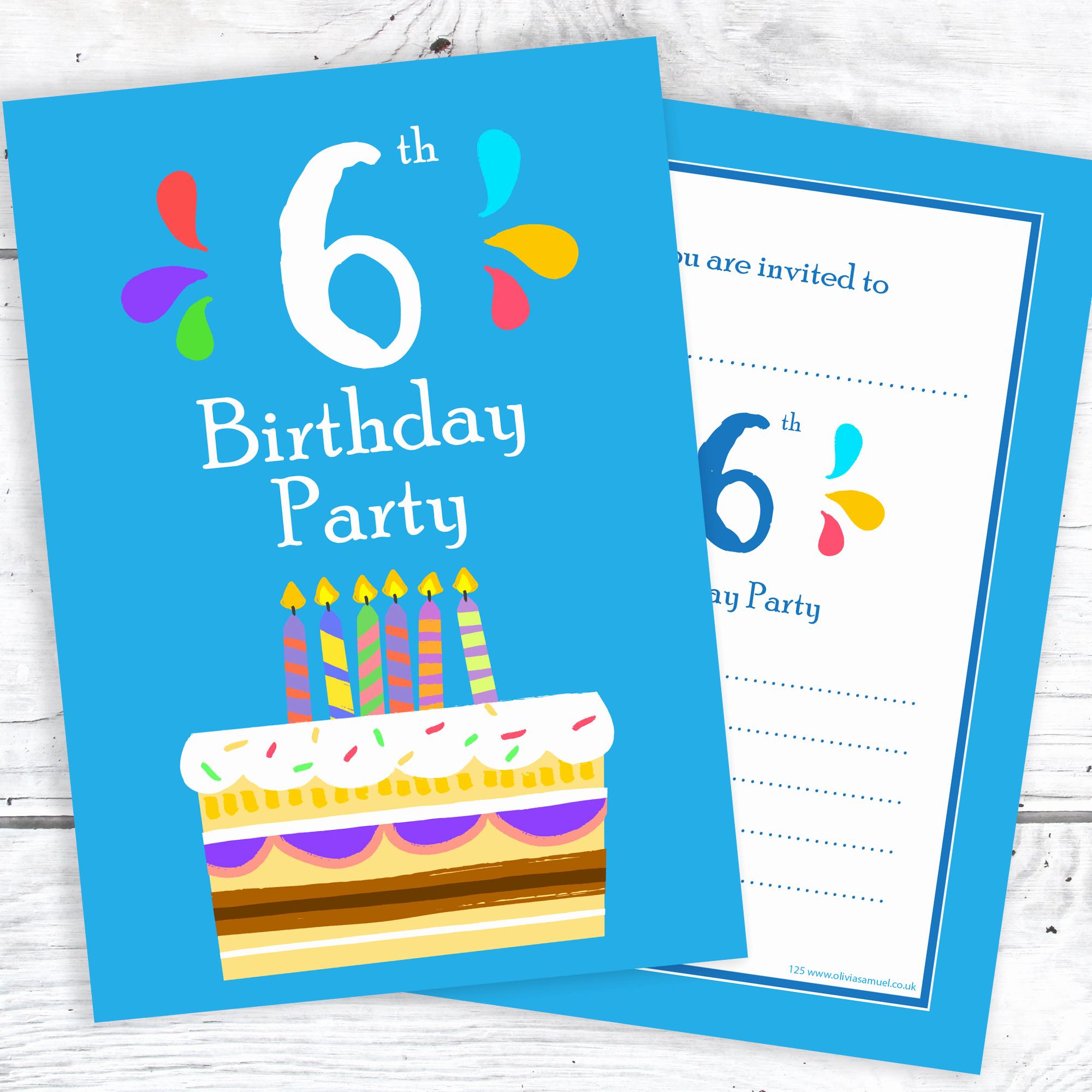 6th Birthday Invitation Wording Fresh 6th Birthday Party Invitations – 6 Candle Blue Cake Design