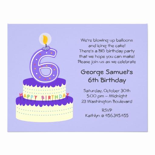 6th Birthday Invitation Wording Fresh 6th Lavender Birthday Cake Invitation