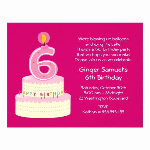 "6th Birthday Invitation Wording Luxury 6th Birthday Cake Simple Invitation 4 25"" X 5 5"
