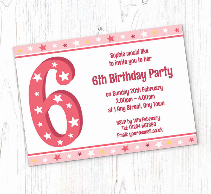 6th Birthday Invitation Wording Luxury 6th Stars Birthday Party Invitations