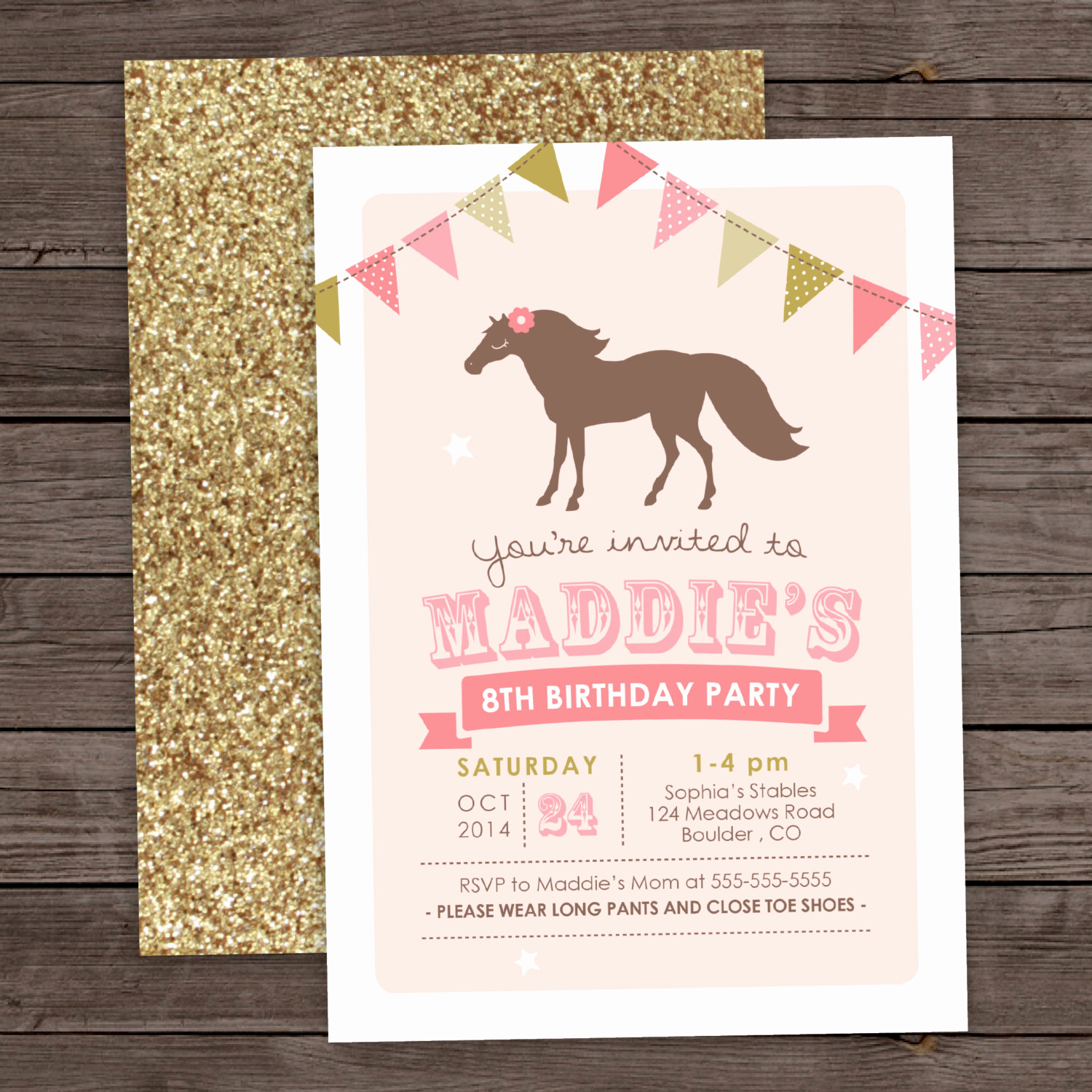 6th Birthday Invitation Wording Luxury Girl Pony Birthday Invitation 5th 6th 8th Birthday Glitter
