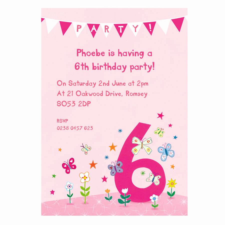 6th Birthday Invitation Wording Luxury Personalised Sixth Birthday Party Invitations by Made by