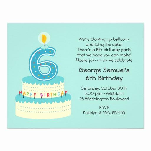 6th Birthday Invitation Wording New 6th Birthday Cake Invitation