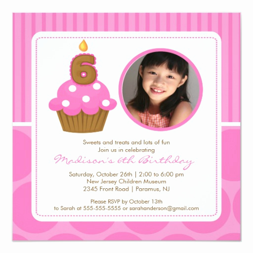 6th Birthday Invitation Wording New Cupcake Birthday Invitation 6th Birthday Pink