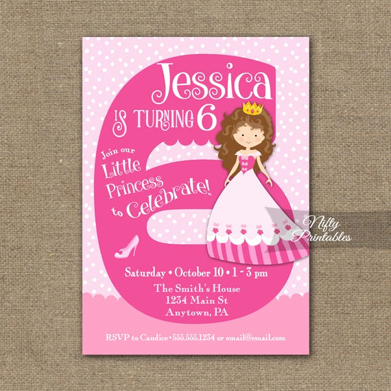 6th Birthday Invitation Wording Unique 6th Birthday Invitations Girl Birthday Invitation Princess
