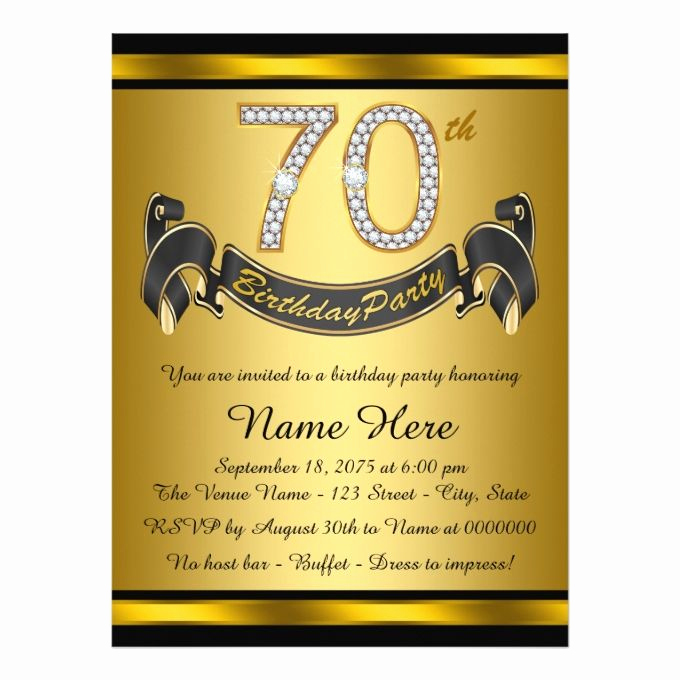 70th Birthday Invitation Ideas Awesome Black and Gold 70th Birthday Party Invitation