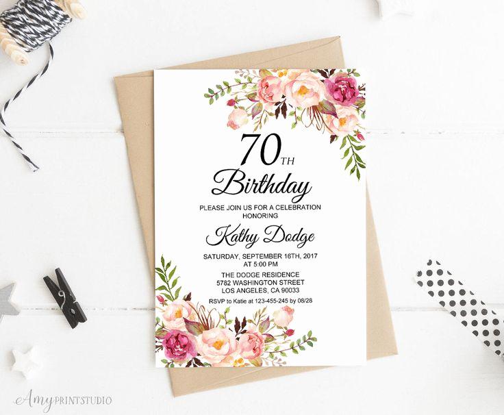 70th Birthday Invitation Ideas Luxury Best 25 70th Birthday Invitations Ideas On Pinterest