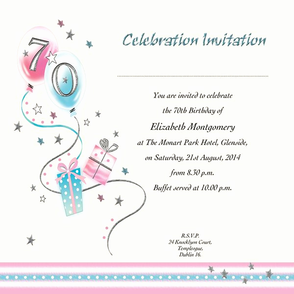 70th Birthday Invitation Ideas New 70th Birthday Invitations Printable