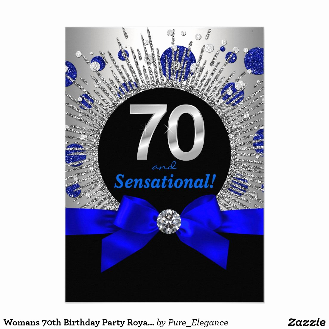 70th Birthday Invitation Ideas Unique Womans 70th Birthday Party Royal Blue and Silver