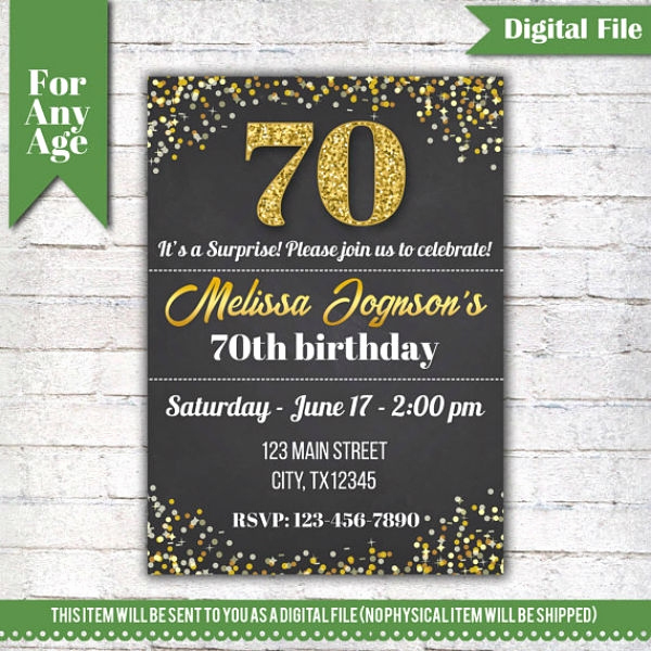 70th Birthday Invitation Templates Free Awesome 14 70th Birthday Invitation Card Templates & Designs