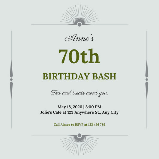 70th Birthday Invitation Templates Free Awesome Platinum and Olive Green 70th Birthday Invitation