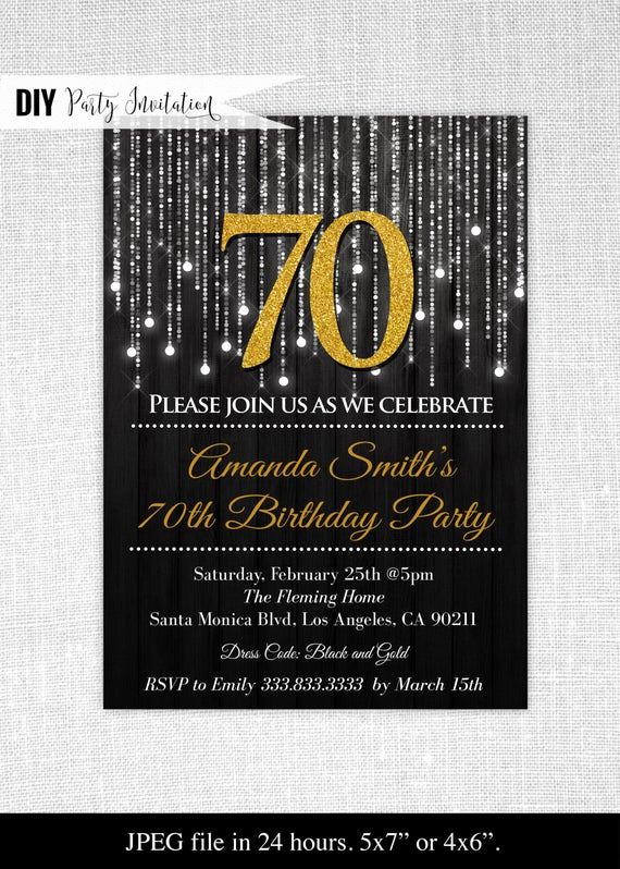 70th Birthday Invitation Templates Free Beautiful Black and Gold 70th Birthday Invitations 70th Birthday