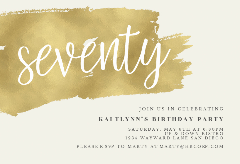 70th Birthday Invitation Templates Free Beautiful Urban 70 Birthday Invitation Template Free