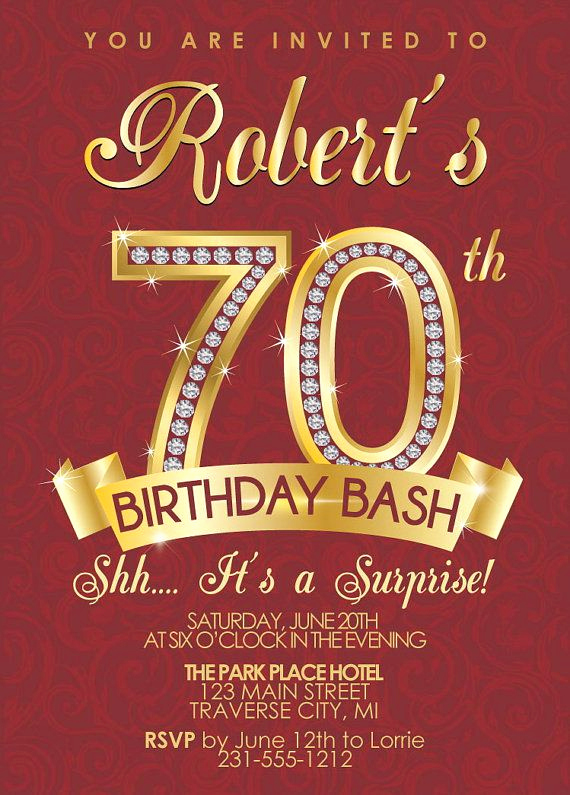 70th Birthday Invitation Templates Free Best Of 15 70th Birthday Invitations Design and theme Ideas