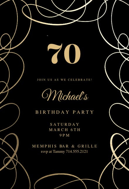 70th Birthday Invitation Templates Free Elegant 70th Birthday Invitation Templates Free