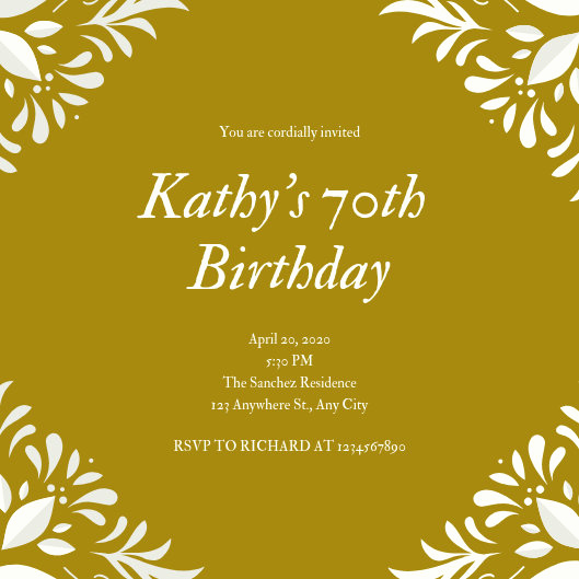 70th Birthday Invitation Templates Free Inspirational Customize 375 70th Birthday Invitation Templates Online