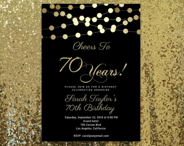 70th Birthday Invitation Templates Free Lovely 14 70th Birthday Invitation Card Templates & Designs