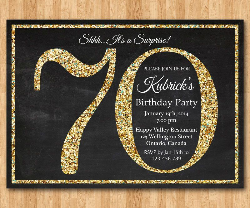 70th Birthday Invitation Templates Free Luxury 70th Birthday Invitation Gold Glitter Birthday Party by