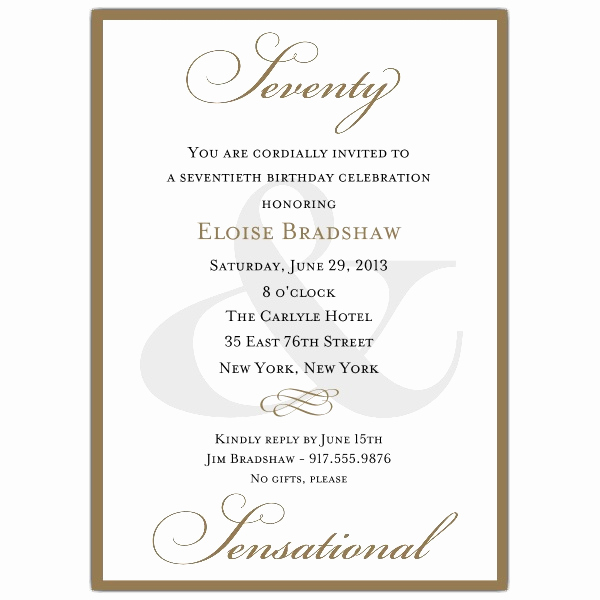 70th Birthday Invitation Templates Free Luxury Classic 70th Birthday Gold Party Invitations