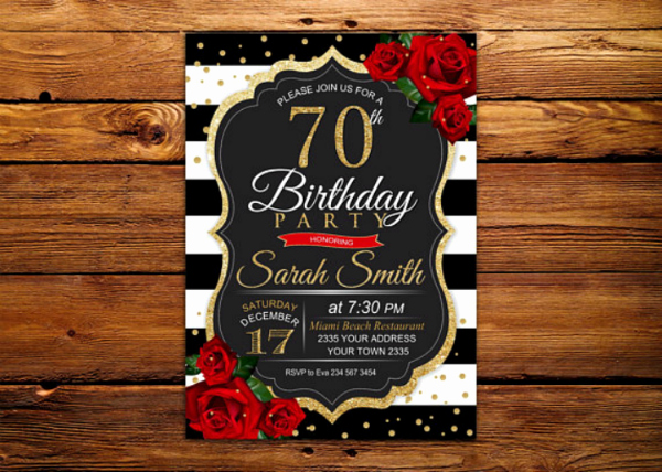 70th Birthday Invitation Templates Free New 14 70th Birthday Invitation Card Templates & Designs