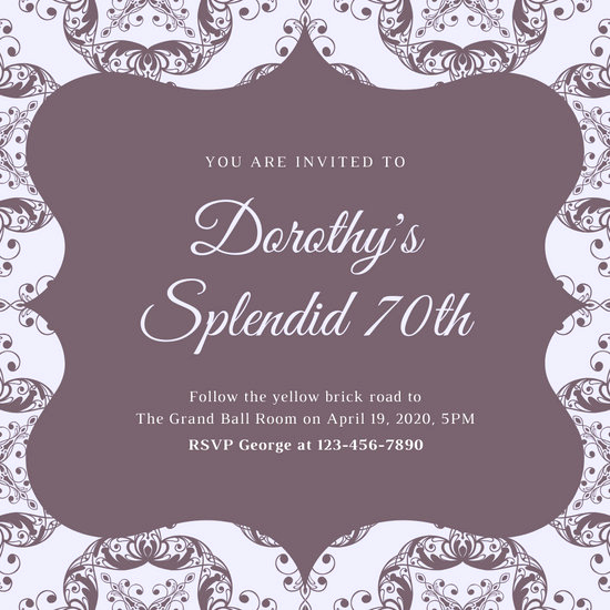70th Birthday Invitation Templates Free New Customize 373 70th Birthday Invitation Templates Online