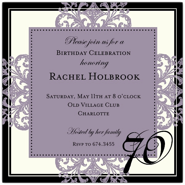 70th Birthday Invitation Wording Awesome Decorative Square Border Eggplant 70th Birthday