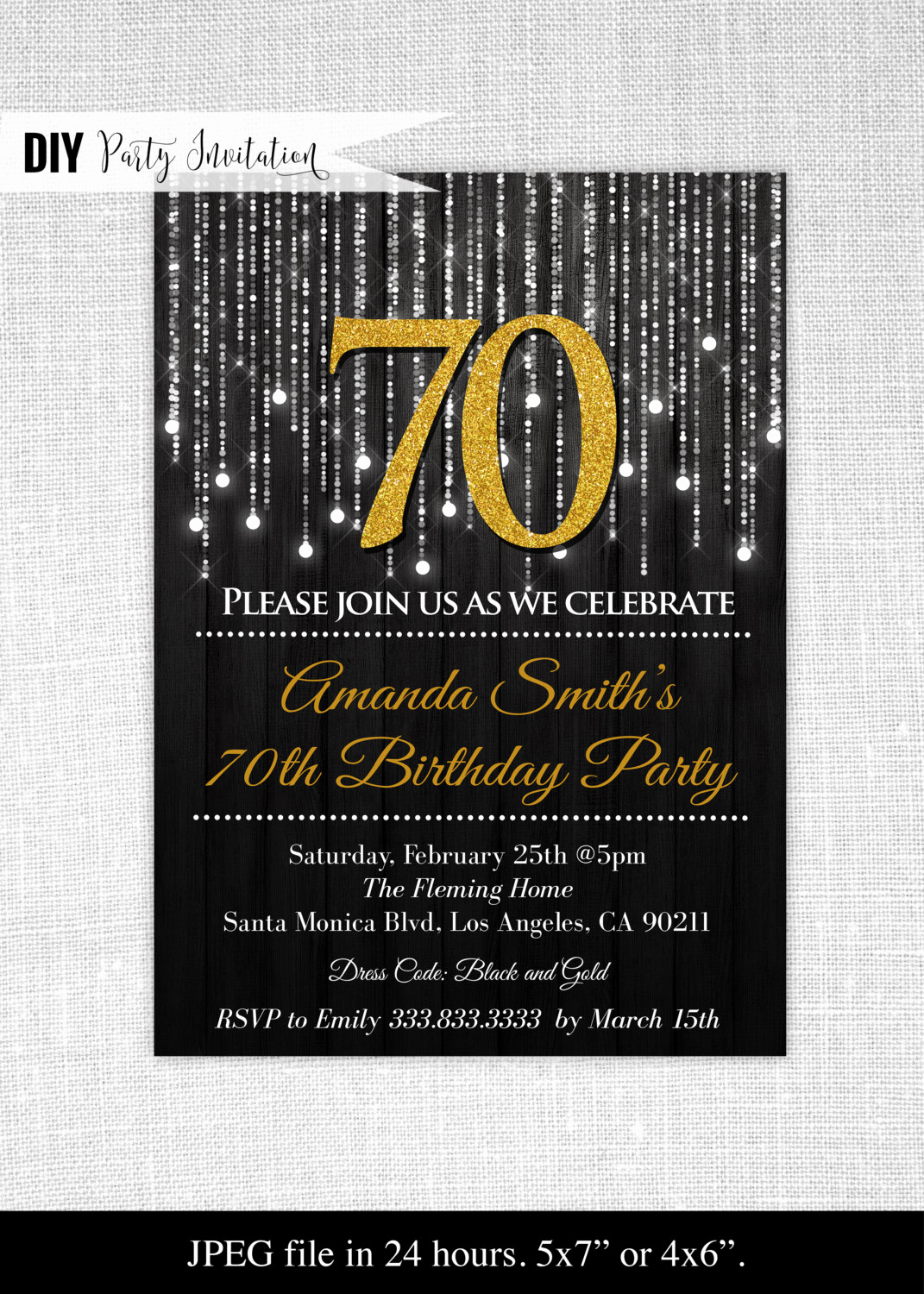 70th Birthday Invitation Wording Beautiful Black and Gold 70th Birthday Invitations 70th Birthday