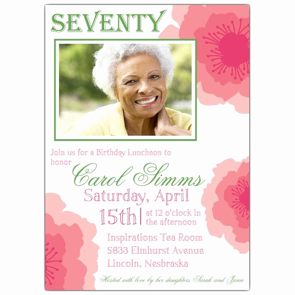 70th Birthday Invitation Wording Beautiful Peony Pink Seventieth Birthday Invitations