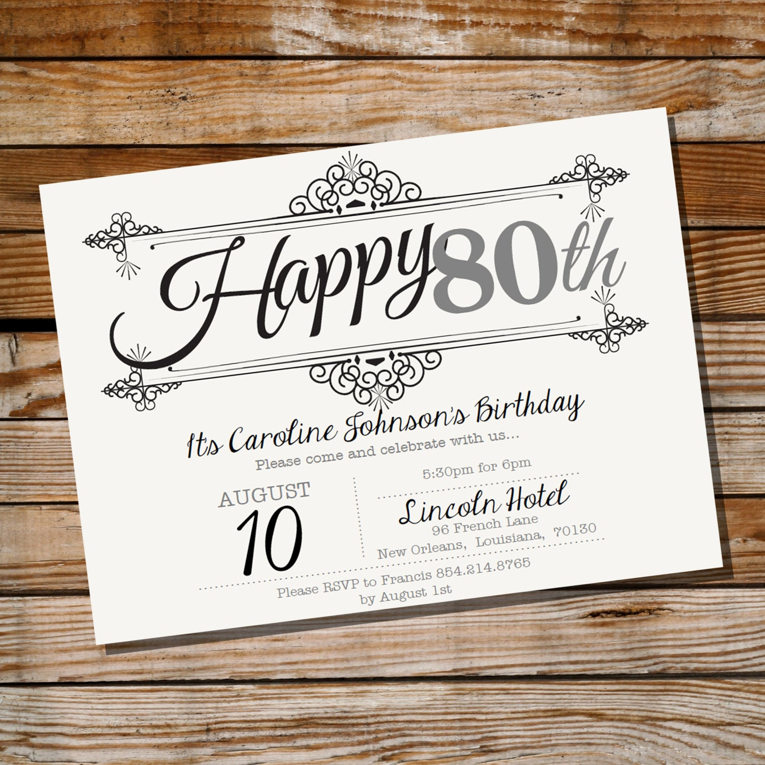 70th Birthday Invitation Wording Beautiful Vintage Frame Birthday Invitation 30th 40th 50th 60th 70th