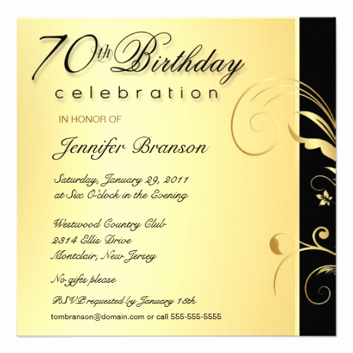 70th Birthday Invitation Wording Best Of 70th Birthday Party Elegant Gold Floral Invites 5 25