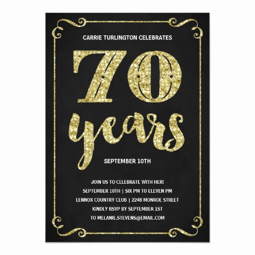 70th Birthday Invitation Wording Best Of Gold Typography Faux Foil 70th Birthday Party Card