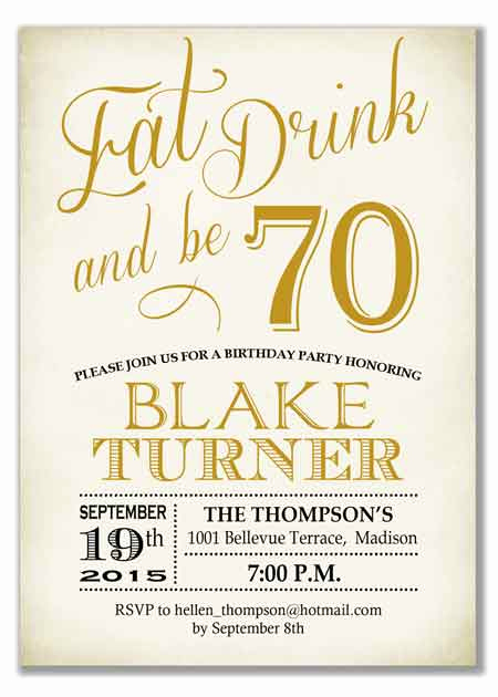 70th Birthday Invitation Wording Elegant the Best 70th Birthday Invitations—by A Professional Party