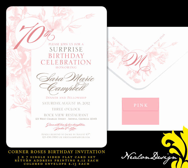 70th Birthday Invitation Wording New Nealon Design Corner Roses 70th Birthday Invitation