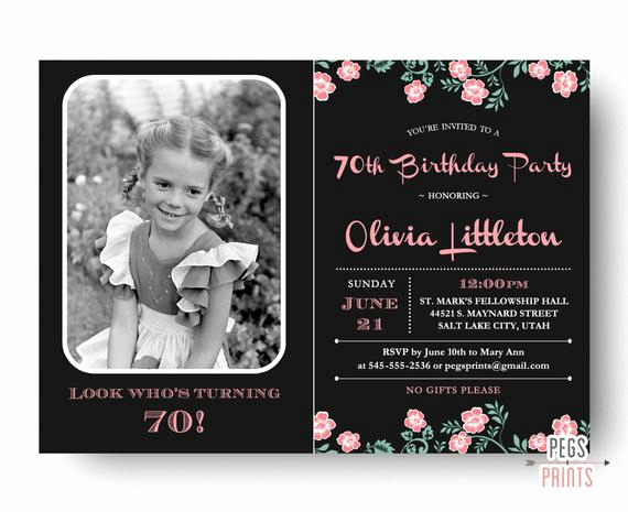 70th Birthday Party Invitation Wording Elegant Birthday Invitation 70th Birthday Invitation Printable