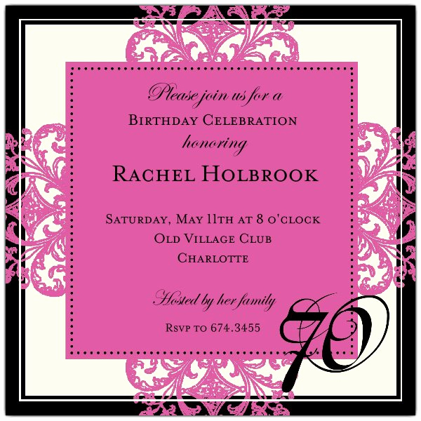 70th Birthday Party Invitation Wording Elegant Decorative Square Border Pink 70th Birthday Invitations