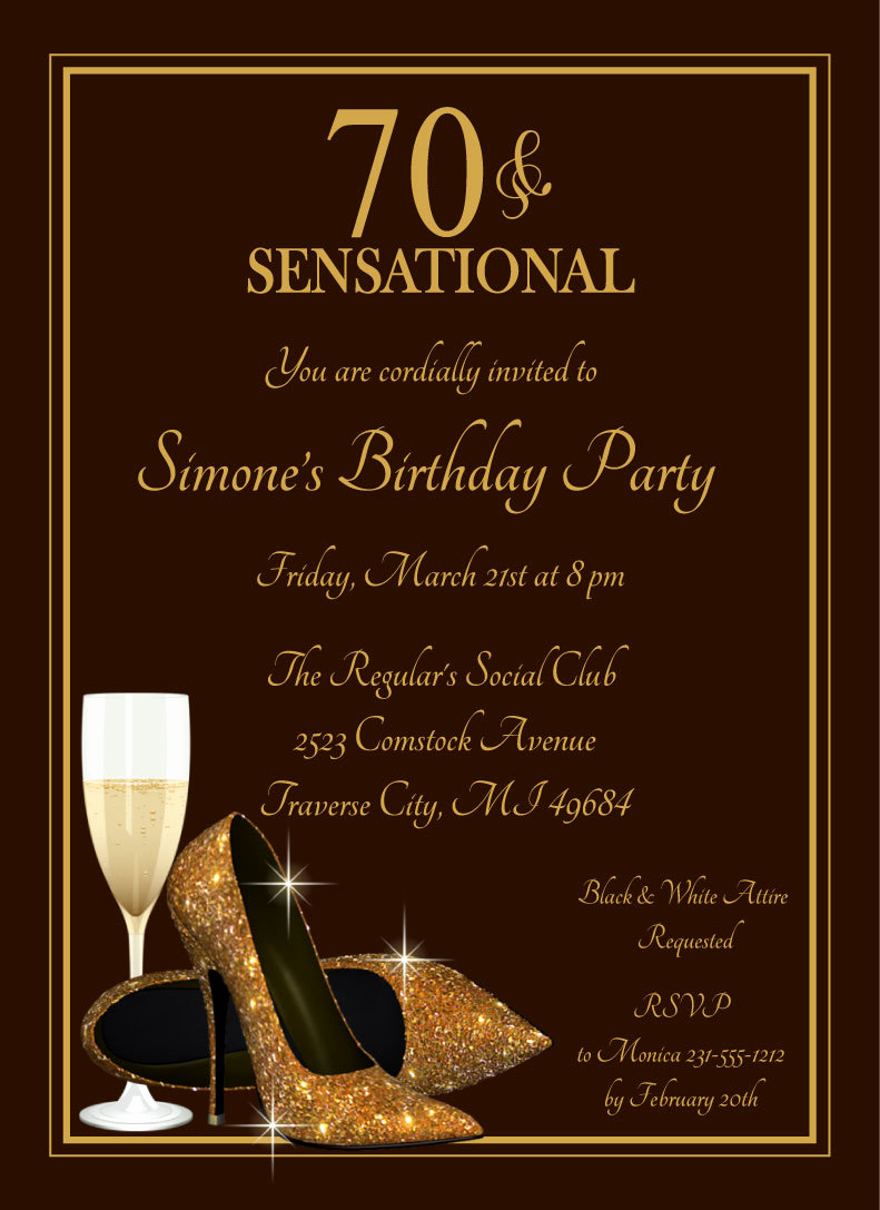 70th Birthday Party Invitation Wording Inspirational 70th Glitter Shoes Invitation Champagne Glass Gold