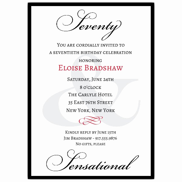 70th Birthday Party Invitation Wording Lovely Classic 70th Birthday Milestone Invitations