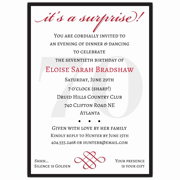 70th Birthday Party Invitation Wording Unique Classic 70th Birthday Red Surprise Invitations