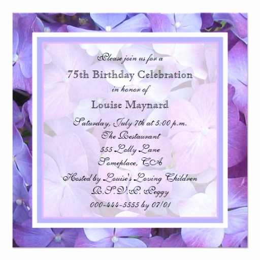 "75th Birthday Invitation Wording Beautiful 75th Birthday Party Invitation Hydrangeas 5 25"" Square"