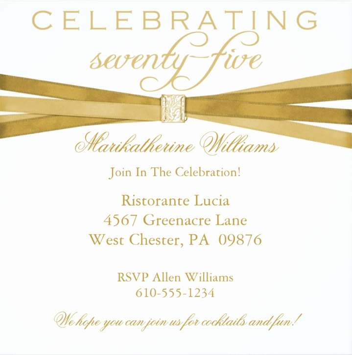 75th Birthday Invitation Wording Elegant 75th Birthday Invitations 50 Gorgeous 75th Party Invites
