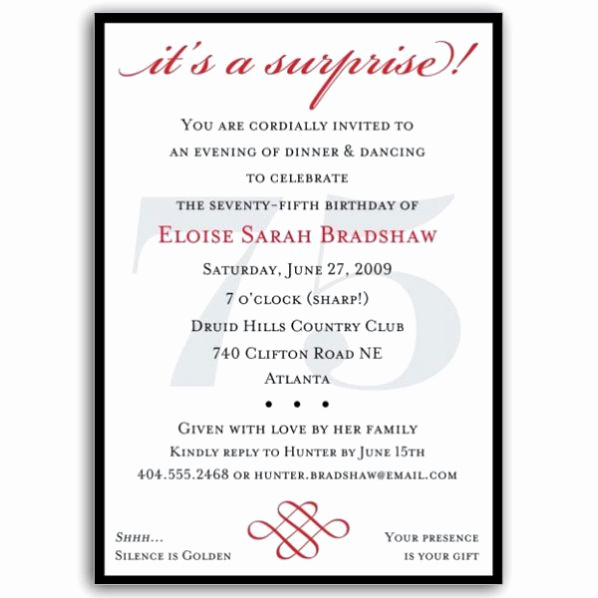 75th Birthday Invitation Wording Luxury Classic 75th Birthday Red Surprise Invitations